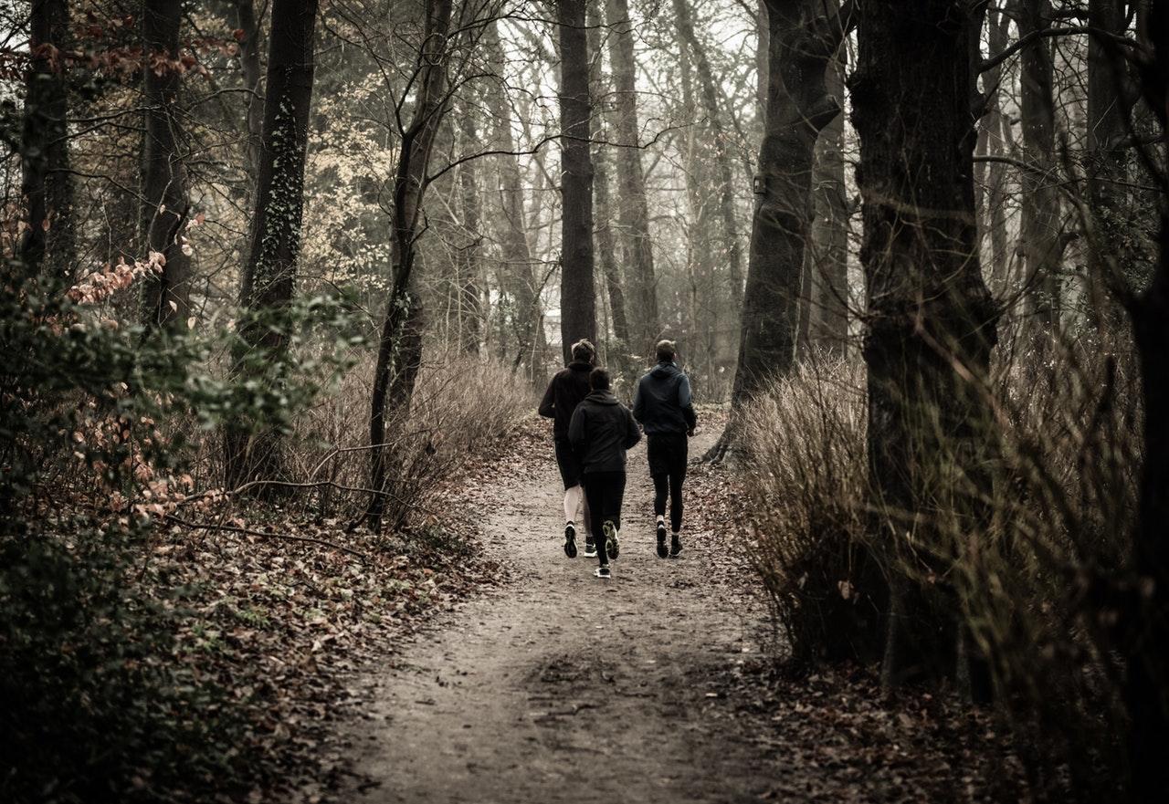 Tre som springer i skogen